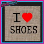 I LOVE HEART SHOES JUTE LADIES GIFT SHOPPING BAG
